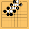 White is chased to the edge of the board and captured.